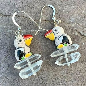 Earrings with Happy Pelicans and Quartz Crystals